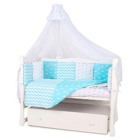Бортик в кроватку AMARO BABY Королевский 12подушек Бирюзовый