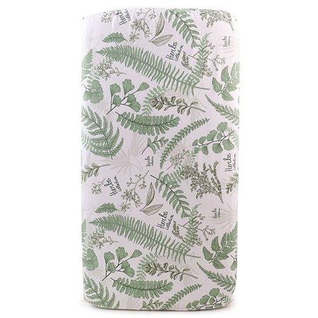 Простыня AMARO BABY Mild design edition Зеленые листья на резинке Белый-Зеленый