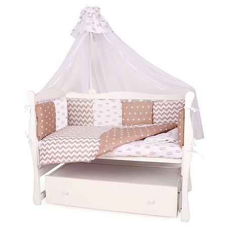 Бортик в кроватку AMARO BABY Королевский 12подушек Коричневый