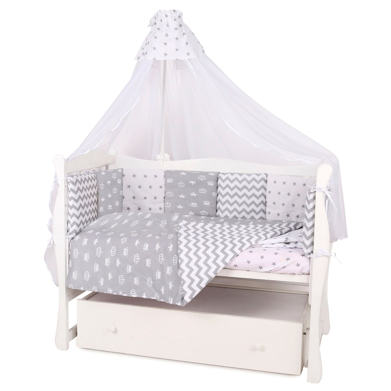 Бортик в кроватку AMARO BABY Королевский 12подушек Серый