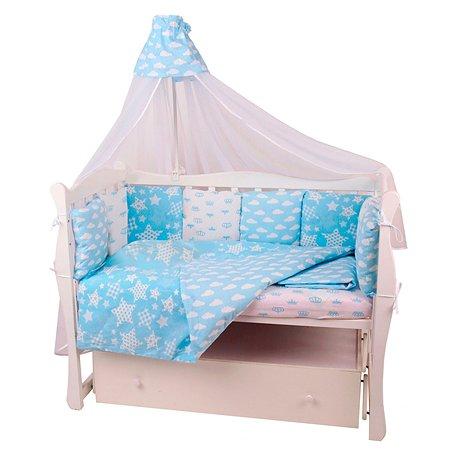Бортик в кроватку AMARO BABY Небо 12подушек Голубой