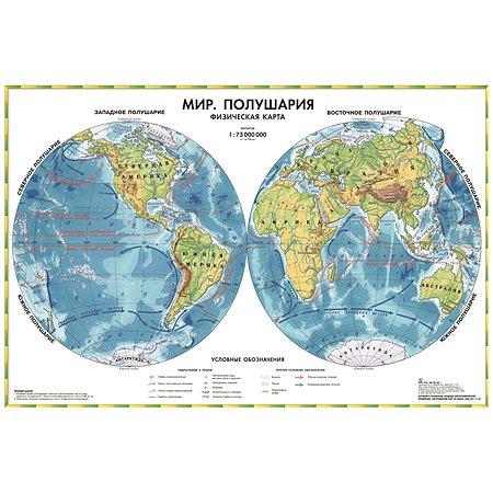 Физическая карта мира Ди Эм Би полушария настольная двухсторонняя 1:73М капсулированная