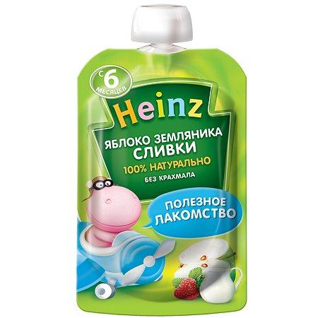 Пюре Heinz яблоко-землян-сливки пауч 90г с 6месяцев