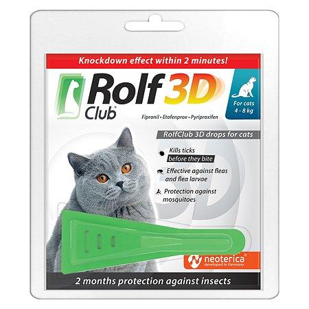 Капли для кошек RolfClub3D 4-8кг от блох и клещей 0.8мл