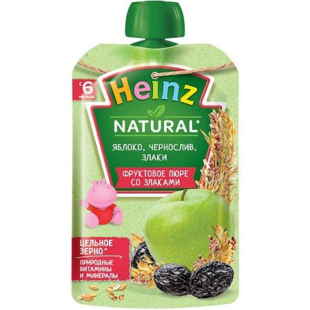 Пюре Heinz яблоко-чернослив-злаки пауч 90г с 6месяцев