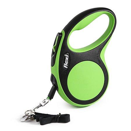 Рулетка Flexi New Comfort S лента 5м до 15кг Черный-Зеленый