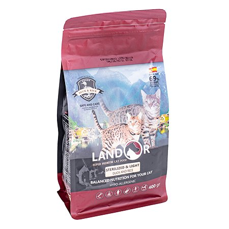 Корм для кошек Landor стерилизованных контроль веса утка с рисом 0.4кг