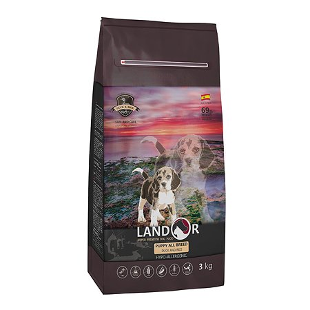 Корм для щенков Landor утка с рисом 3кг