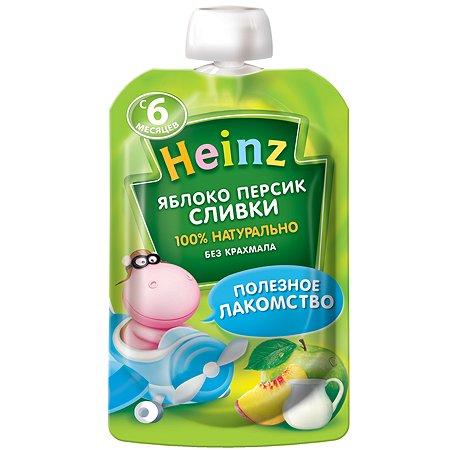 Пюре Heinz яблоко-персик-сливки пауч 90г с 6месяцев