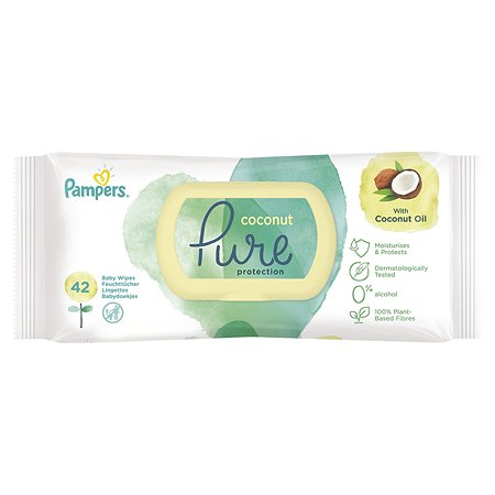 Салфетки влажные Pampers Pure Protection Coconut 42 шт