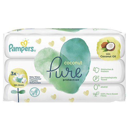Салфетки влажные Pampers Pure Protection Coconut 126 шт