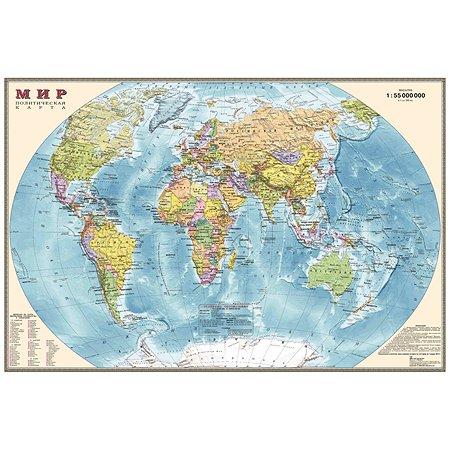 Политическая карта мира Ди Эм Би настольная двухсторонняя 1:55М капсулированная
