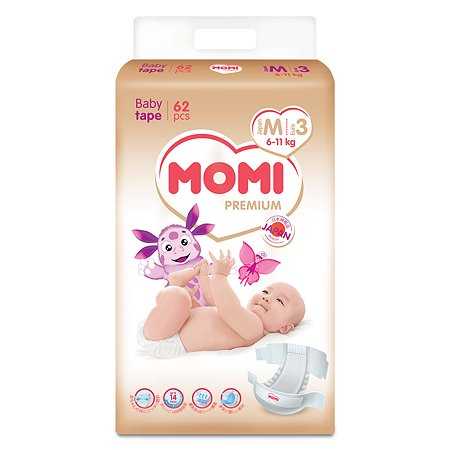 Подгузники Momi Premium M 6-11кг 62шт