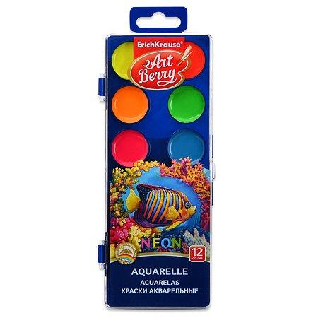 Краски акварельные ErichKrause artberry неон 12 цветов с уф защитой яркости