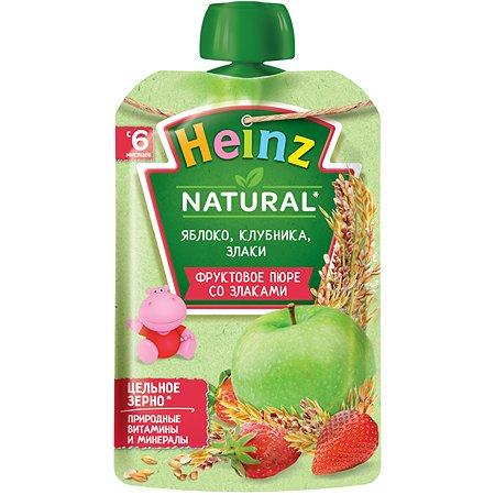 Пюре Heinz яблоко-клубника-злаки пауч 90г с 6месяцев