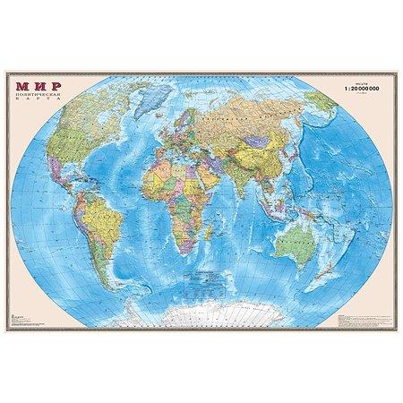 Политическая карта мира Ди Эм Би настенная 1:20м ламинация
