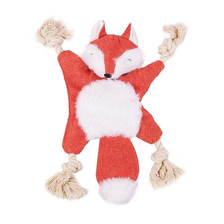 Игрушка для собак Не один дома Белочка с шуршалкой и канатами Красная