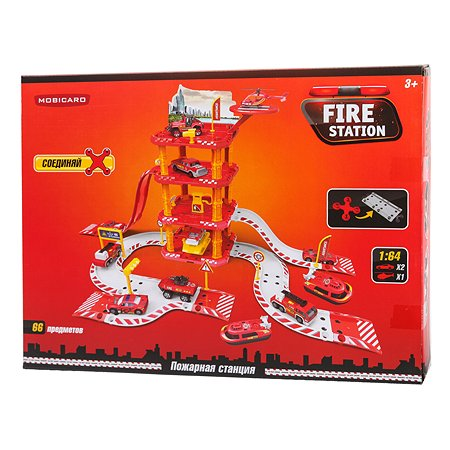 Игрушка Mobicaro Парковка Пожарная часть 66 деталей YS190206