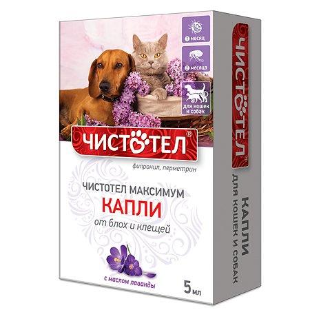 Капли для кошек и собак Чистотел Максимум от блох и клещей универсальные 5мл