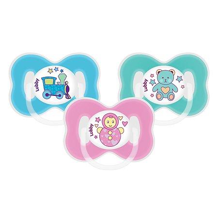 Соска-пустышка Lubby Малыши и Малышки от 0 мес силикон скошенный сосок кольцо колпачок в ассортименте