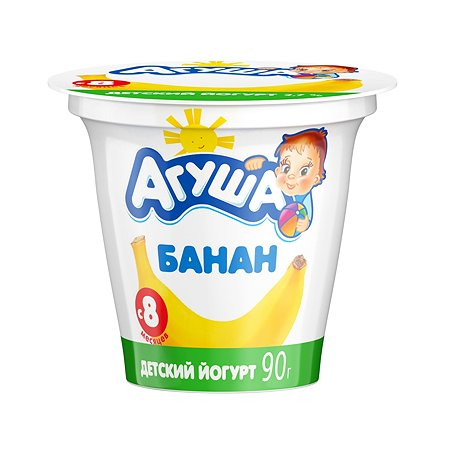 Йогурт вязкий Агуша банан 2.7% 90г с 8месяцев