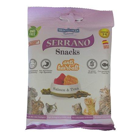 Лакомство для кошек Serrano для выведения шерсти лосось и тунец 50г