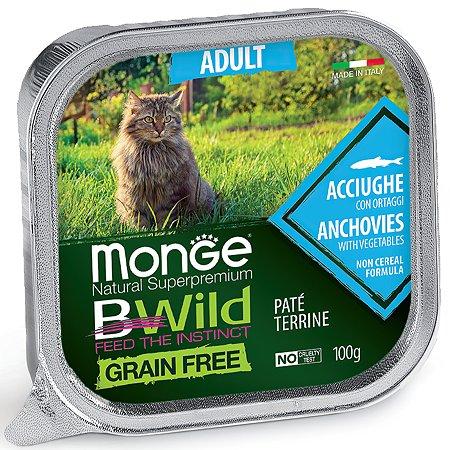 Корм для кошек MONGE BWild Grain free из анчоусов с овощами консервированный 100г