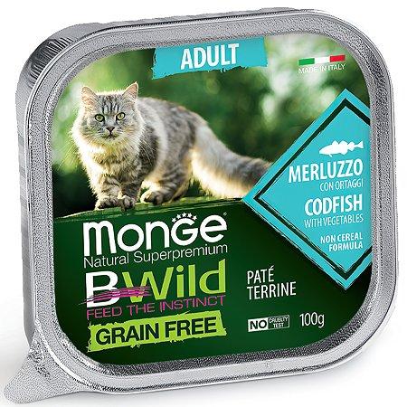 Корм для кошек MONGE BWild Grain free из трески с овощами консервированный 100г
