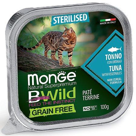Корм для кошек MONGE BWild Grain free стерилизованных из тунца с овощами консервированный 100г