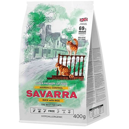 Корм для кошек Savarra для выведения шерсти утка-рис 400г