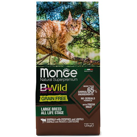 Корм для кошек MONGE BWild Grain free крупных пород из мяса буйвола 1.5кг