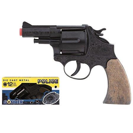 Полицейский револьвер Gonher черный 19см звук