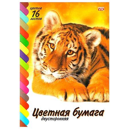 Бумага цветная Hatber VK Тигренок 2сторонняя А4 16цветов 16л