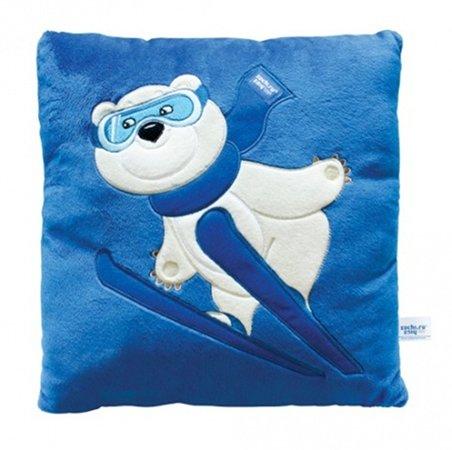 Подушка с аппликацией Сочи 2014 Белый Мишка-лыжник 32х32см