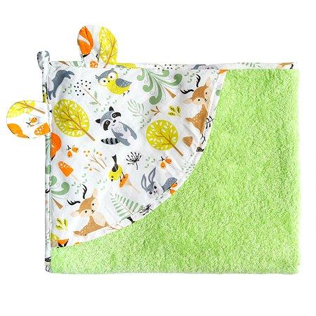 Полотенце AMARO BABY Cute Love Зверята с уголком Зеленый
