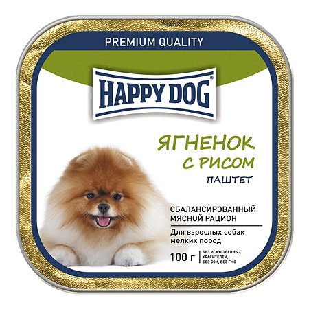 Корм для собак Happy Dog мелких пород ягненок-рис паштет 100г