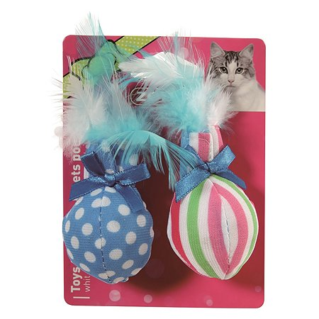 Игрушка для кошек Zolux Мячики с пером и мятой малые 2шт Голубые