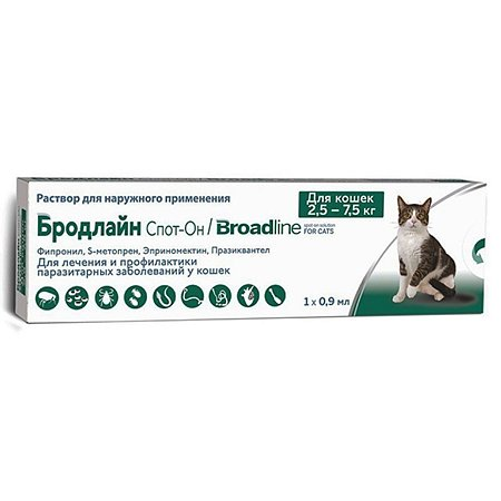 Препарат противопаразитарный для кошек Boehringer Ingelheim Бродлайн Спот-он 0.9мл шприц-аппликатор