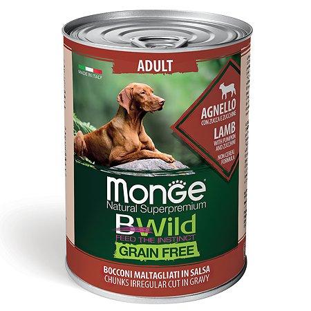 Корм для собак MONGE BWild Grain free из ягненка с тыквой и кабачками консервированный 400г