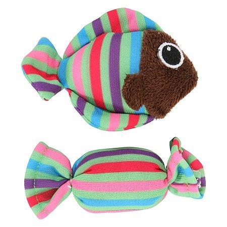 Игрушка для кошек Zolux Рыбка и конфета с мятой малые 2шт Зеленые