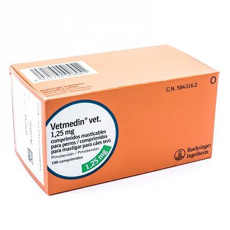 Препарат для лечения сердечно-сосудистых заболеваний у собак Boehringer Ingelheim Ветмедин 1.25мг 50таблеток