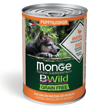 Корм для щенков MONGE BWild Grain free из утки с тыквой и кабачками консервированный 400г