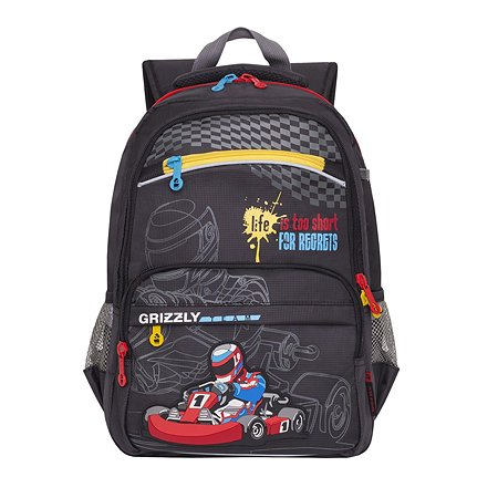 Рюкзак Grizzly для мальчика Формула-1 серая
