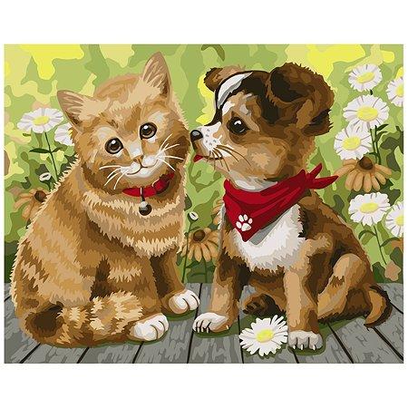 Набор для рисования Attivio Картина по номерам Котенок и щенок DM004