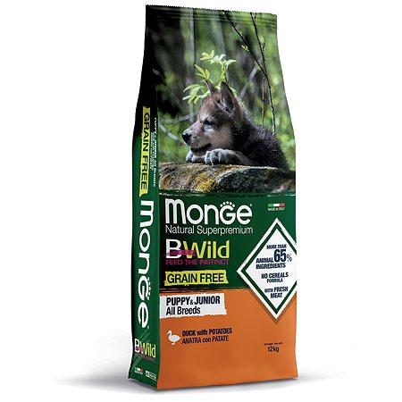 Корм для щенков MONGE BWild Grain free из мяса утки с картофелем 12кг