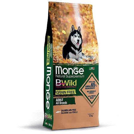 Корм для собак MONGE BWild Grain free из лосося и гороха 12кг