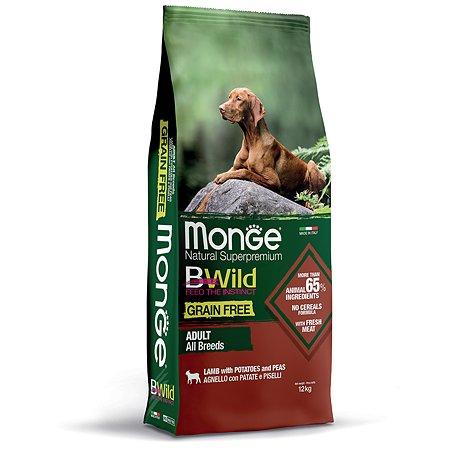 Корм для собак MONGE BWild Grain free из мяса ягненка с картофелем и горохом 12кг