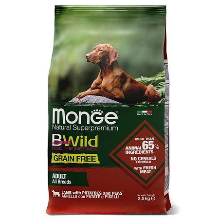 Корм для собак MONGE BWild Grain free из мяса ягненка с картофелем и горохом 2.5кг