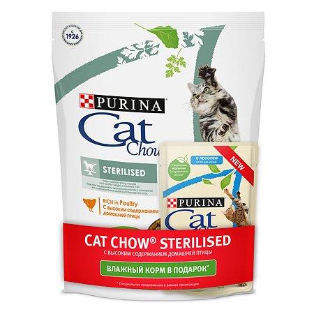 Корм сухой для кошек Cat Chow 400г+85г с домашней птицей стерилизованных
