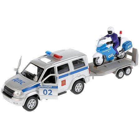 Машина Технопарк UAZ Рatriot Полиция инерционная +мотоцикл на прицепе 266070